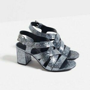 Zara Glitter Silver Grey Sandals Chunky Heels
